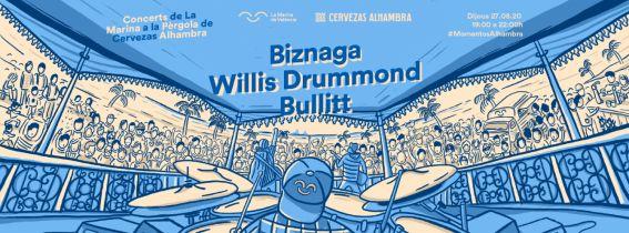 Concerts de La Marina a la Pèrgola de Cervezas Alhambra: WILLIS DRUMMOND + BULLITT + BIZNAGA